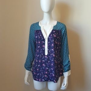 Modcloth Bird and Floral Button Blouse